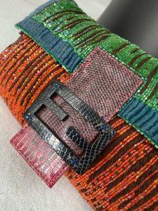 Fendi Multicoloured Sequins and Lizard Baguette Bag