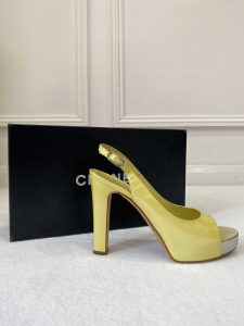 Chanel Metallic Yellow Open Toe Heels