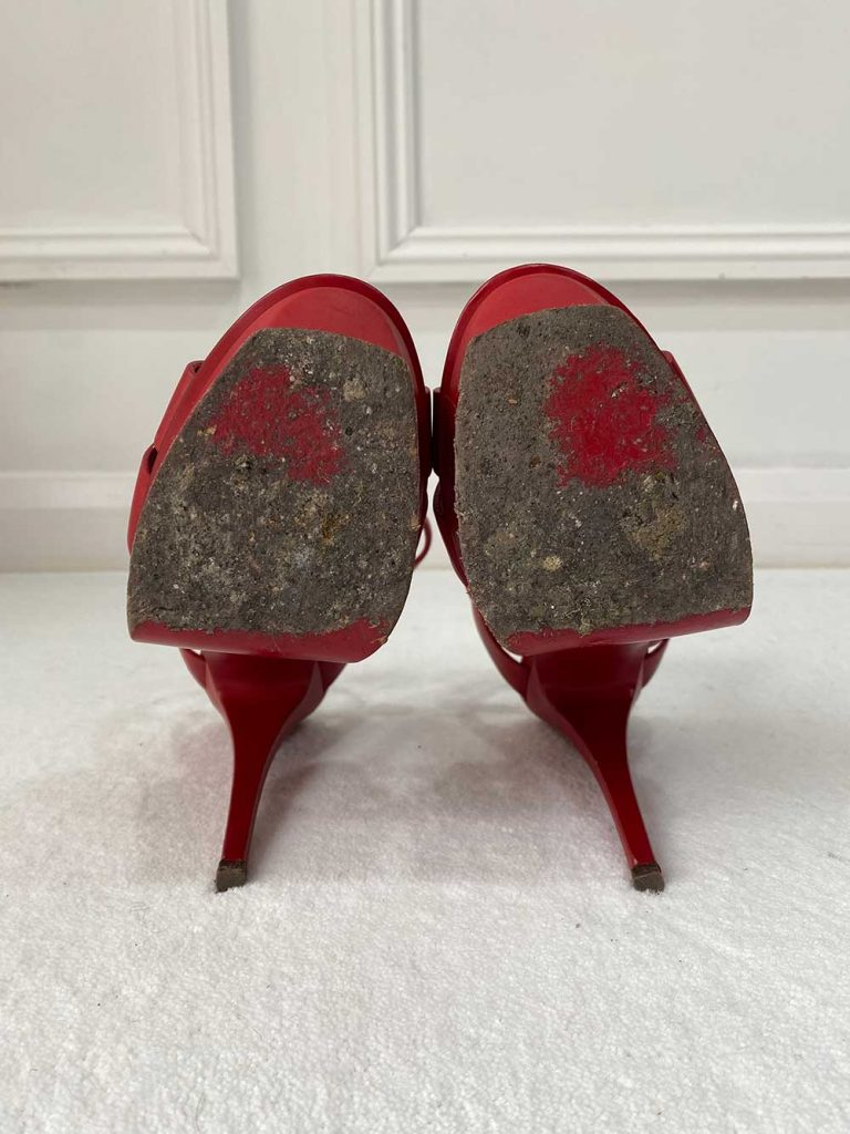 Saint Laurent YSL Tribute Red Leather Sandals