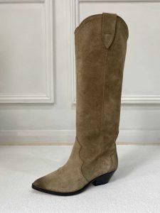Isabel Marant Denvee 50 Taupe Suede Knee High Boots
