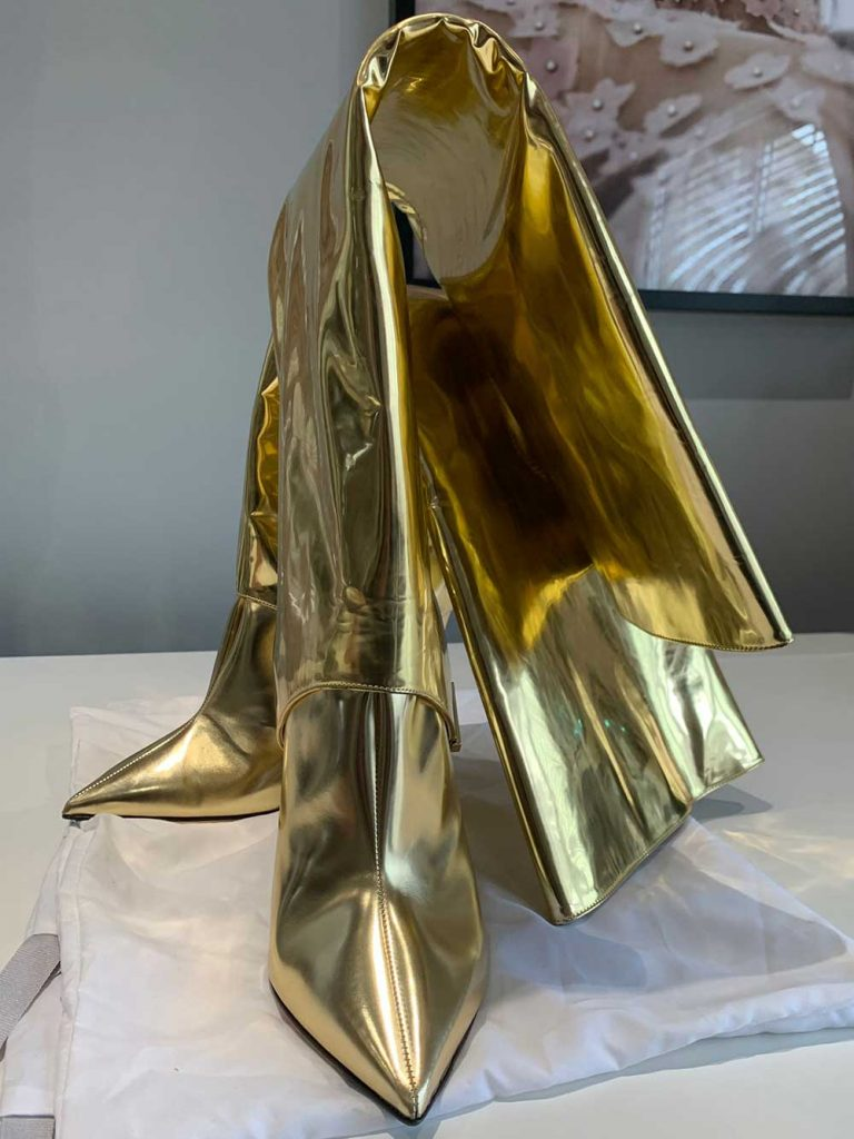 Jimmy Choo Hurley Convertible Metallic Mirrored Gold Leather Knee Boots